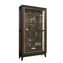 Sliding Front Display Cabinet With Metal Trim and Exotic Wood Veneer Back