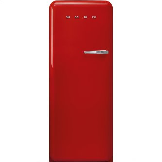 """Approx 24"""" 50'S Style Refrigerator with ice compartment, Red, Left hand hinge"""