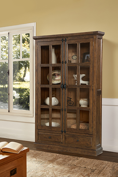 Tuscan Retreat® Double Door Cabinet (glass Front And Two Drawers)   Antique  Pine