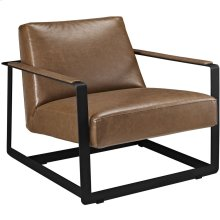 Seg Upholstered Vinyl Accent Chair in Brown