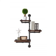 """Armen Living 30"""" Orton Industrial Pine Wood Floating Wall Shelf in Gray and Walnut Finish"""
