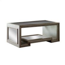 Moderne Coffee Table with Glass Top / Antique Mirror Base and Sides