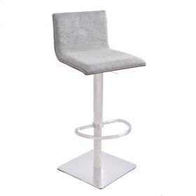 Armen Living Crystal Barstool in Brushed Steel finish with Gray Fabric upholstery and Walnut back