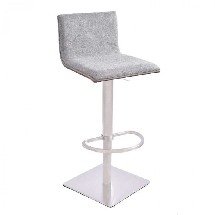 Superbe Armen Living Crystal Barstool In Brushed Steel Finish With Gray Fabric  Upholstery And Walnut Back