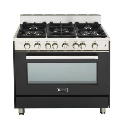 "Matte Black 36"" Gas Range with Single Oven"