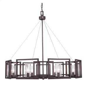 Marco 8 Light Chandelier in Gunmetal Bronze with Clear Glass