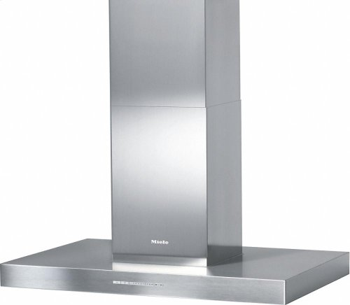 DA 6596 D Puristic Canto AM Island décor hood with energy-efficient LED lighting and backlit controls for easy use.