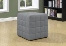 OTTOMAN - LIGHT GREY LINEN-LOOK FABRIC