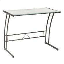 Single Bit Computer Desk - Black Metal, Frosted White Glass