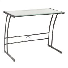 Single Bit Computer Desk - Black Metal, Frosted White Glass