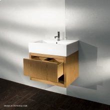 """Wall-mount under-counter vanity, one drawer with finger pulls and one cubby. The drawer has U-shaped notch for plumbing.23 3/8""""W, 18 1/4""""D, 16""""H"""