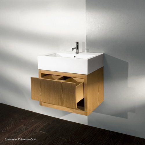 "Wall-mount under-counter vanity, one drawer with finger pulls and one cubby. The drawer has U-shaped notch for plumbing.23 3/8""W, 18 1/4""D, 16""H"