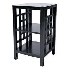 Black Square Lattice Accent Table with Shelves
