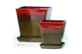 Red and Brown Franc Petits Pots with Attached Saucer - Set of 2