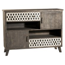 Artesa 2 Door / 2 Drawer Cabinet - Bone Drawer Fronts - Distressed Brown Gray