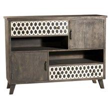 Artesa 2 Door / 2 Drawer Cabinet - Bone Drawer Fronts - Distressed Brown Gray