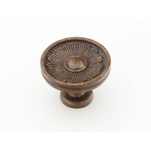 "Solid Brass, Symphony, Sunburst, Round Knob, 1-3/8"" diameter, Highlighted Bronze finish"