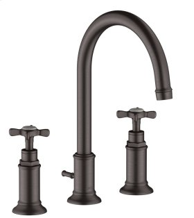 Brushed Black Chrome 3-hole basin mixer 180 with cross handles and pop-up waste set