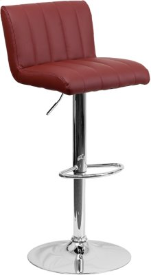 Contemporary Burgundy Vinyl Adjustable Height Barstool with Vertical Stitch Back\/Seat and Chrome Base