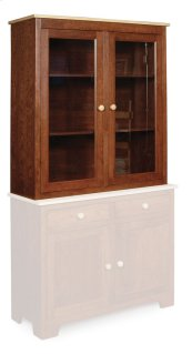 "Shaker Closed Hutch Top, 42""w, Antique Glass"