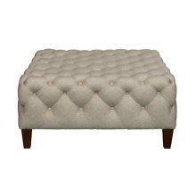 Square Button Tufted Cocktail Ottoman in Sateen Linen