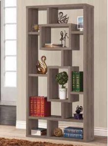 - Ten shelf bookcase finished in weathered grey- Constructed with MDF, particle board, and engineered veneer- Also available in cappuccino (#800259) and white (#800157)
