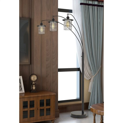 Silverton arc floor lamp with glass shades (Edison bulbs included)