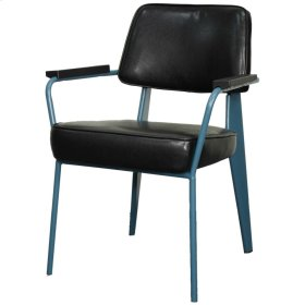 Kolten PU Metal Arm Chair, Black/ Teal
