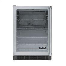 "Stainless Steel 24"" Glass Door Beverage Centers - VUAR (White Interior, Clear Glass, Left Hinge)"