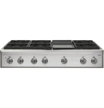 """GE Cafe™ Series 48"""" Professional Gas Rangetop with 6 Burners and Griddle (Natural Gas) Product Image"""