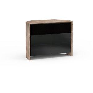 Salamander DesignsBarcelona 329, Twin-Width Corner Cabinet, Natural Walnut with Black Glass Doors