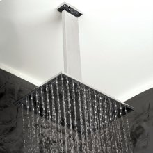 Ceiling-mount tilting rectangular rain shower head, 117 rubber nozzles. Arm and flange sold separately.
