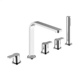 Wisp Deck Mount Five Hole Tub Faucet with Handshower - Stainless