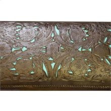"""Turquoise : 45"""" x 19"""" x 20"""" Tooled Leather Bench"""