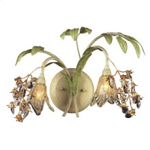Huarco 2-Light Wall Lamp in Seashell and Sage Green with Floral-shaped Glass
