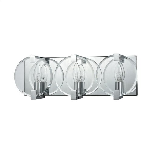 Clasped Glass 3 Vanity Polished Chrome