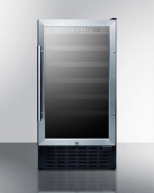 """18"""" Wide ADA Compliant Wine Cellar for Built-in or Freestanding Use With Stainless Steel Cabinet, Digital Controls, and LED Lighting"""