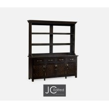 Dark Ale Parquet Welsh Dresser with Strap Handles