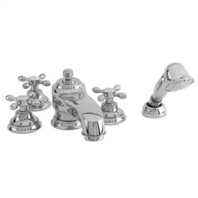 Satin-Nickel Roman Tub Faucet with Hand Shower