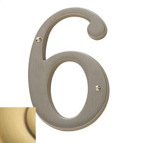 Satin Brass and Brown House Number - 6