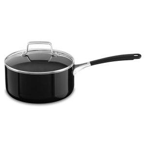 Aluminum Nonstick 3.0-Quart Saucepan with Lid - Onyx Black