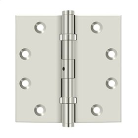 "4 1/2""x 4 1/2"" Square Hinges, Ball Bearings - Polished Nickel"