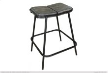 "24"" Stool - with wooden seat & iron base"