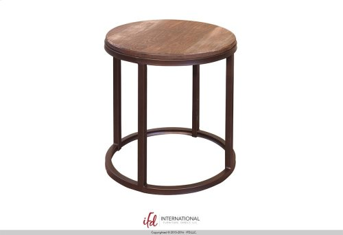 Cocktail Table w/Wooden Top & Iron base