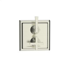 Dual Control Thermostatic With Diverter and Volume Control Valve Trim Leyden Series 14 Satin Nickel 1