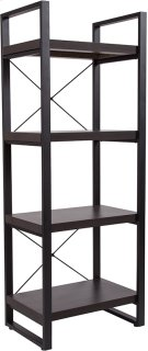 "Thompson Collection 4 Shelf 62""H Etagere Bookcase in Charcoal Wood Grain Finish Product Image"