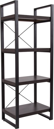 """Thompson Collection 4 Shelf 62""""H Etagere Bookcase in Charcoal Wood Grain Finish"""