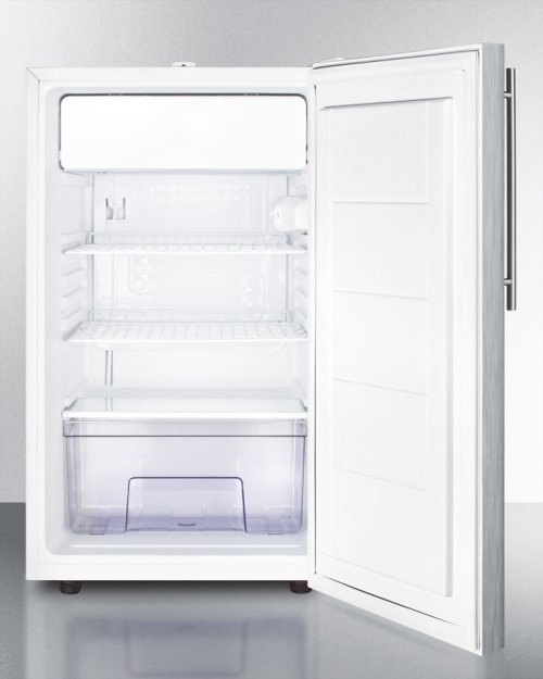 """Commercially Listed ADA Compliant 20"""" Wide Built-in Refrigerator-freezer With A Lock, Stainless Steel Door, Thin Handle and White Cabinet"""