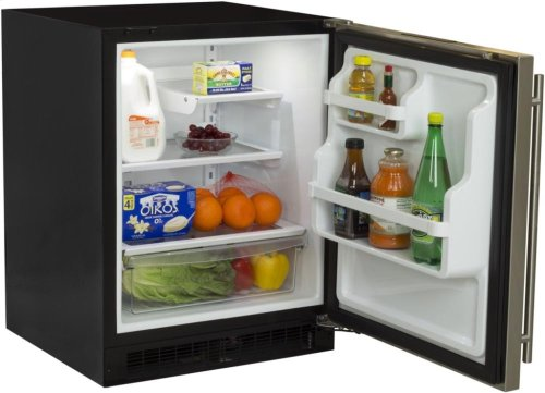 "24"" All Refrigerator with Drawer - Marvel Refrigeration - Solid Stainless Steel Door - Right Hinge"