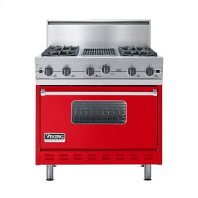 "Racing Red 36"" Open Burner Commercial Depth Range - VGRC (36"" wide, four burners 12"" wide char-grill)"